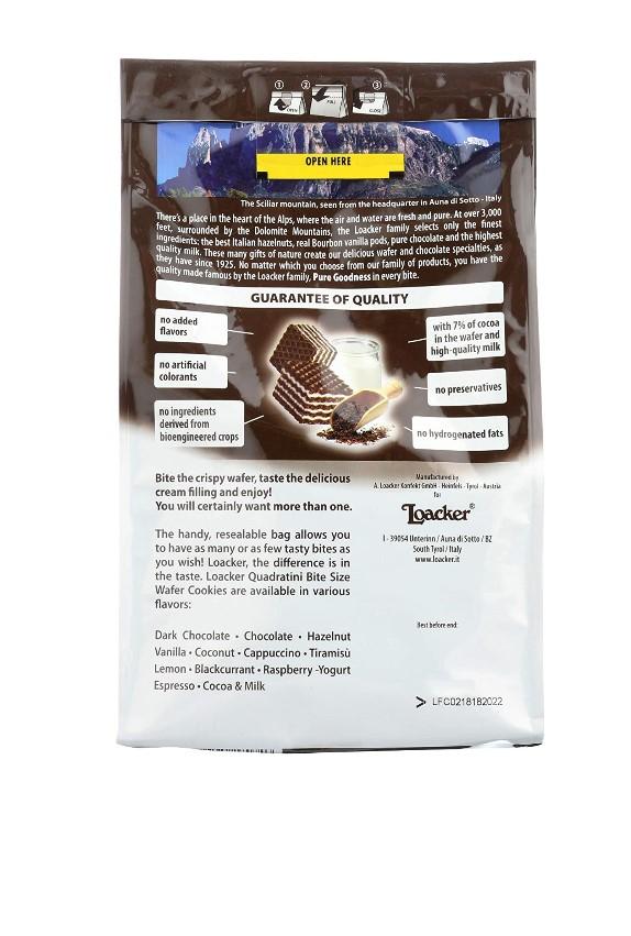 LOACKER Quadratini Cocoa & Milk Wafer Cookies 8.82 Oz