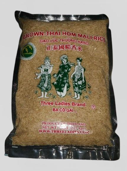 THREE LADIES Brown Thai Hom Mali Rice / Gao Luc Thuong Hang 5 LBS