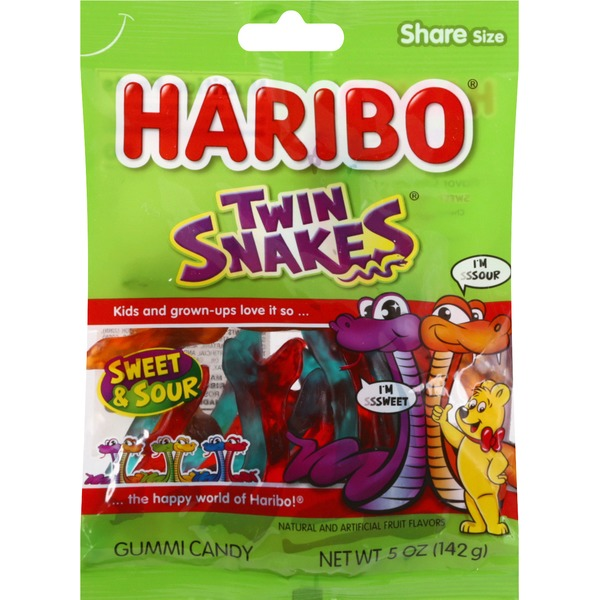 HARIBO Gummy Candy Twin Snakes Sweet & Sour 5 OZ