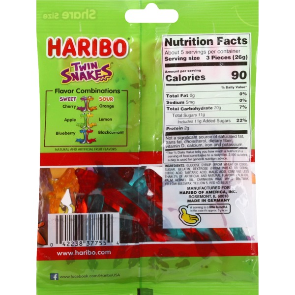 medium haribo gummy candy twin snakes sweet sour 5 oz uy CFy0 lu