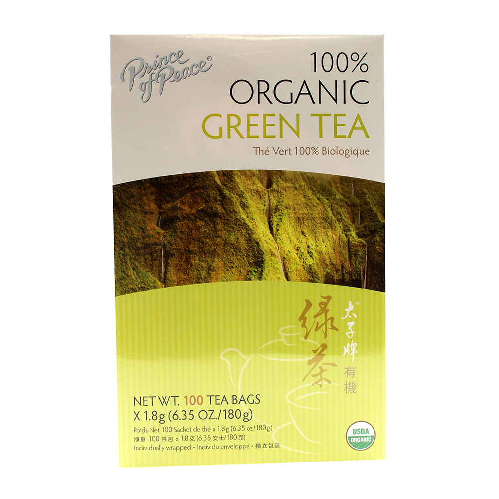 PRICE OF PEACE Organic Green Tea Box 100 Tea Bags