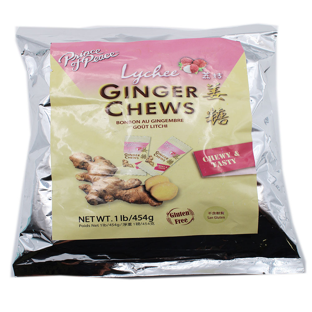 PRINCE OF PEACE Ginger Chews Lychee Flavor 1 LB