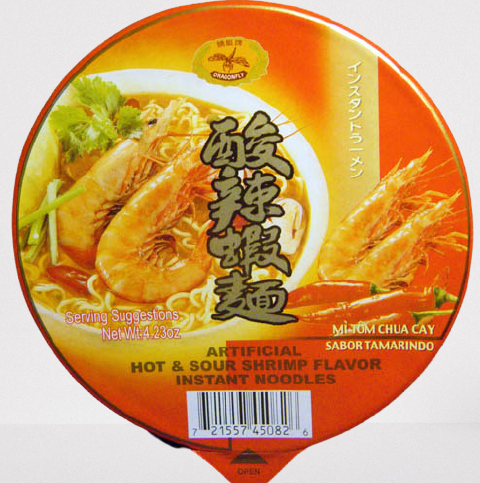 DRAGONFLY Instant Noodles Hot & Sour Shrimp Flavor 4.23 OZ