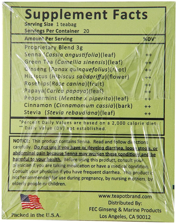 original tea pot panax cleanse ginseng herb tea delight 20 tea bags D26glsTbWR