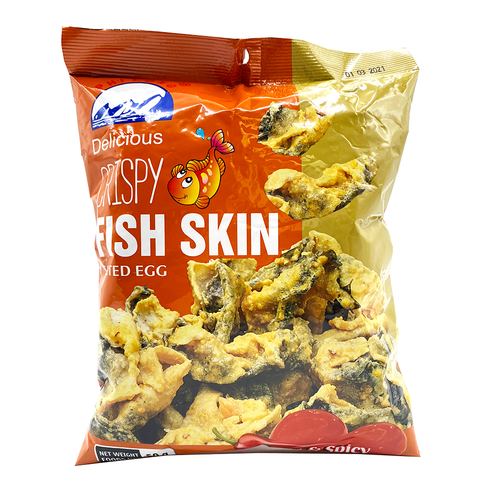 PHI LONG Crispy Fish Skin Salted Egg & Spicy Flavored 50 G