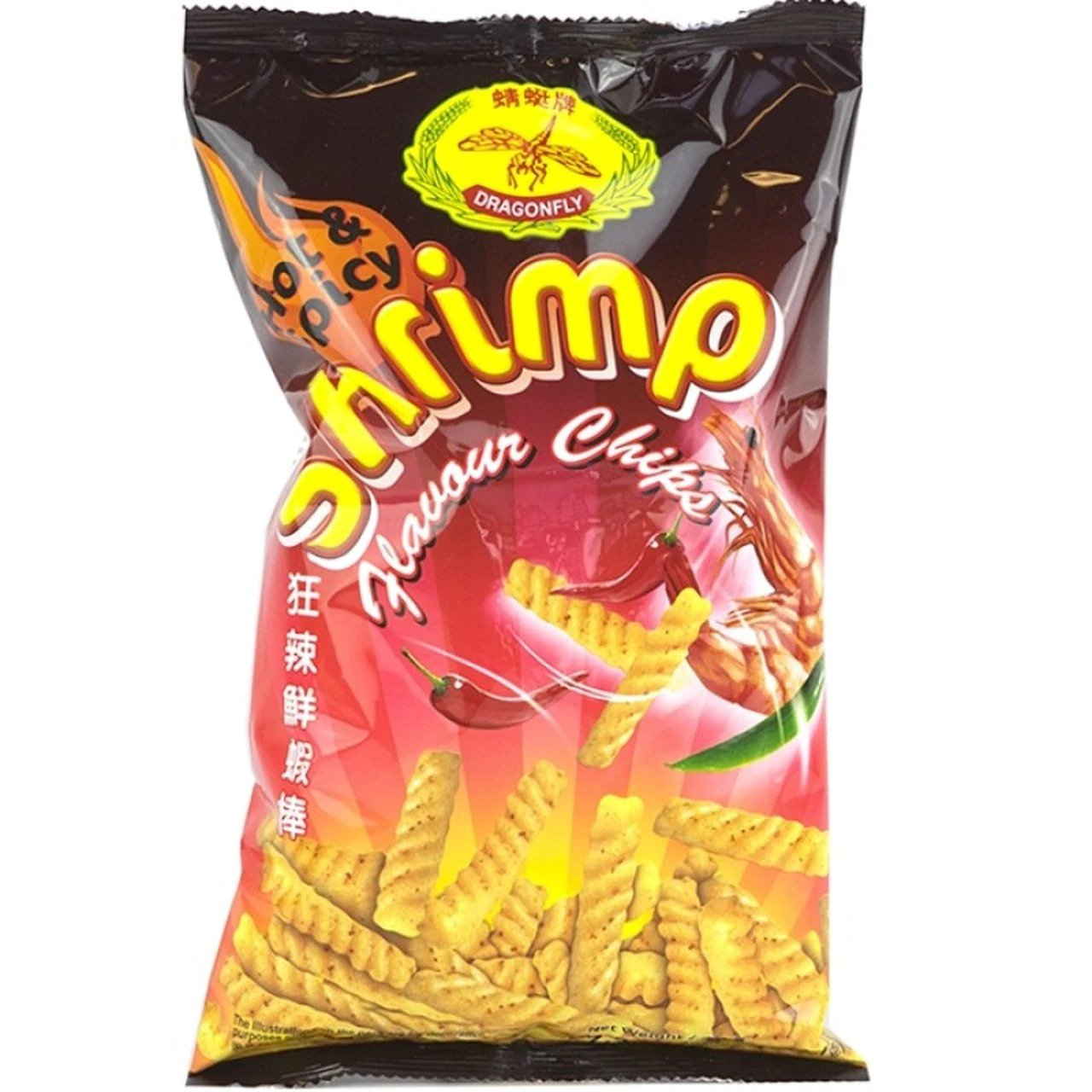 Dragonfly Shrimp Chips Hot & Spicy 7.3 Oz