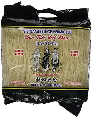 THREE LADIES Vietnamese Rice Vermicelli / Bun Tuoi Viet Nam Ba Co Gai 2 LB
