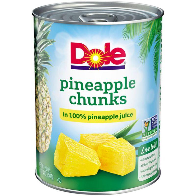Dole Pineapple Chunks In 100% Juice 20 Oz