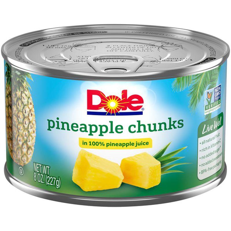 Dole Pineapple Chunks In 100% Pineapple Juice 8 Oz