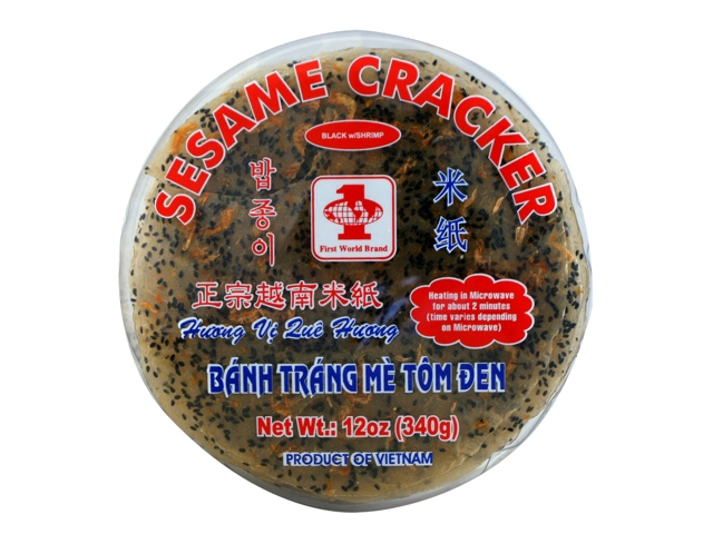 First World Sesame Cracker Black Shrimp / Banh Trang Me Tom Den 12 Oz