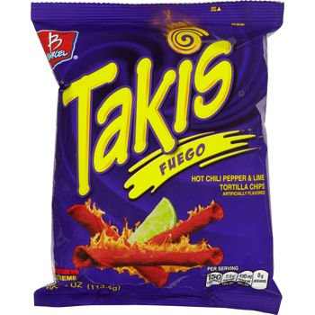 Barcel Takis Fuego Hot Chili Pepper & Lime Tortilla Chips 4 Oz