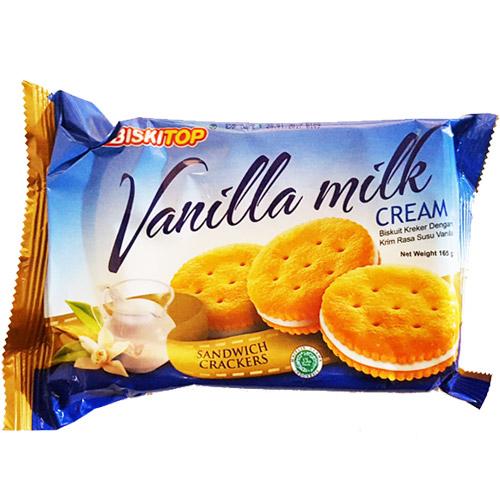Biskitop Vanilla Milk Cream Sandwich Crackers 165 G