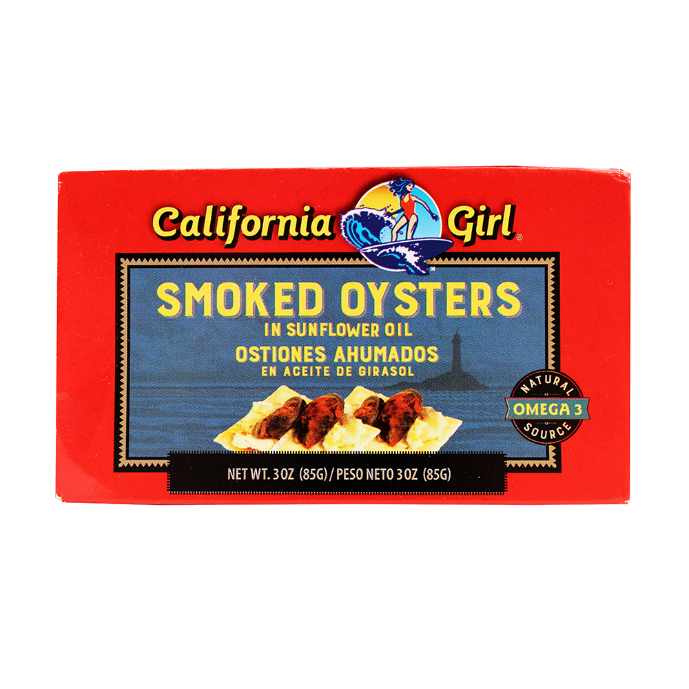CALIFORNIA GIRL Smoked Oysters In Sunflower Oil 3 OZ