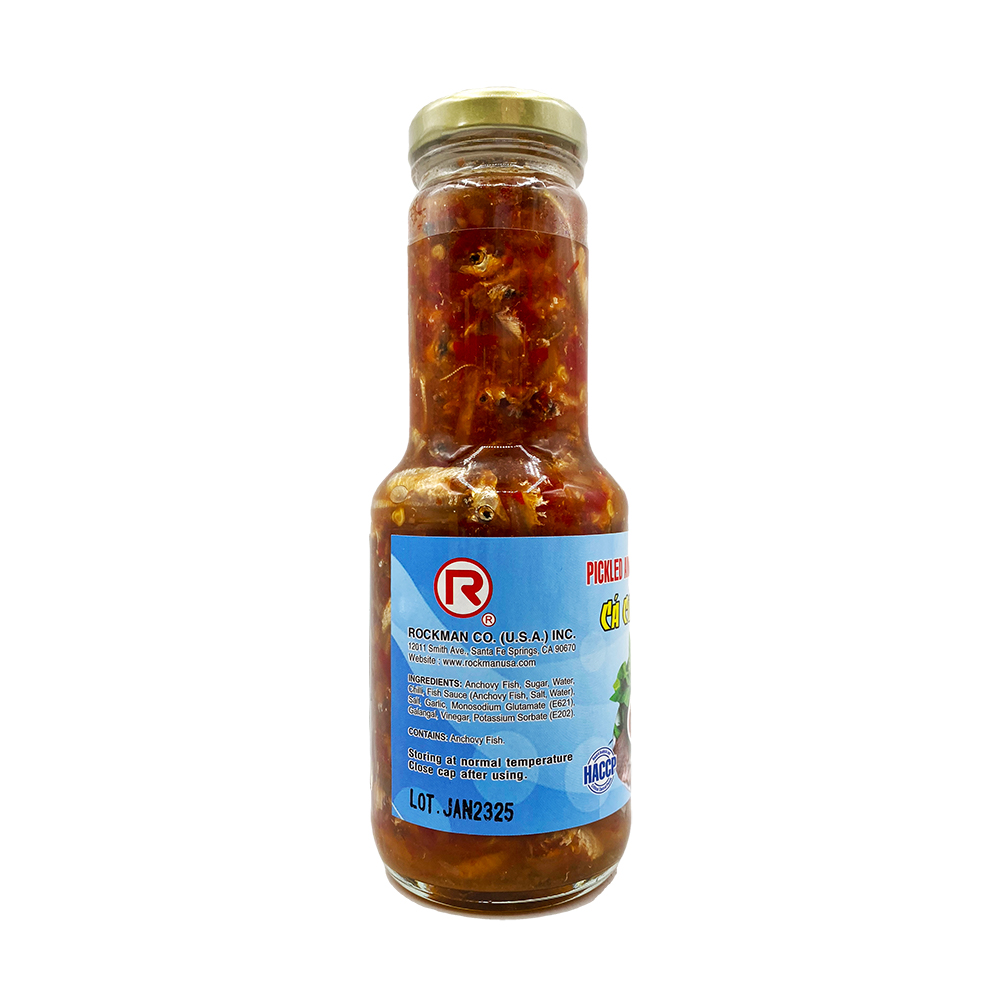 ROCKMAN Pickled Anchovy Fish & Chili In Brine / Ca Com Chua Ngot 10.6 OZ