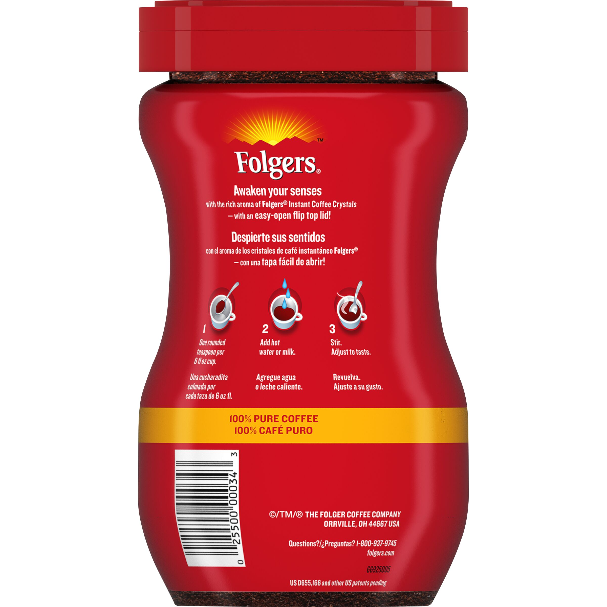 FOLGERS Classic Roast Instant Coffee Crystals 8 OZ