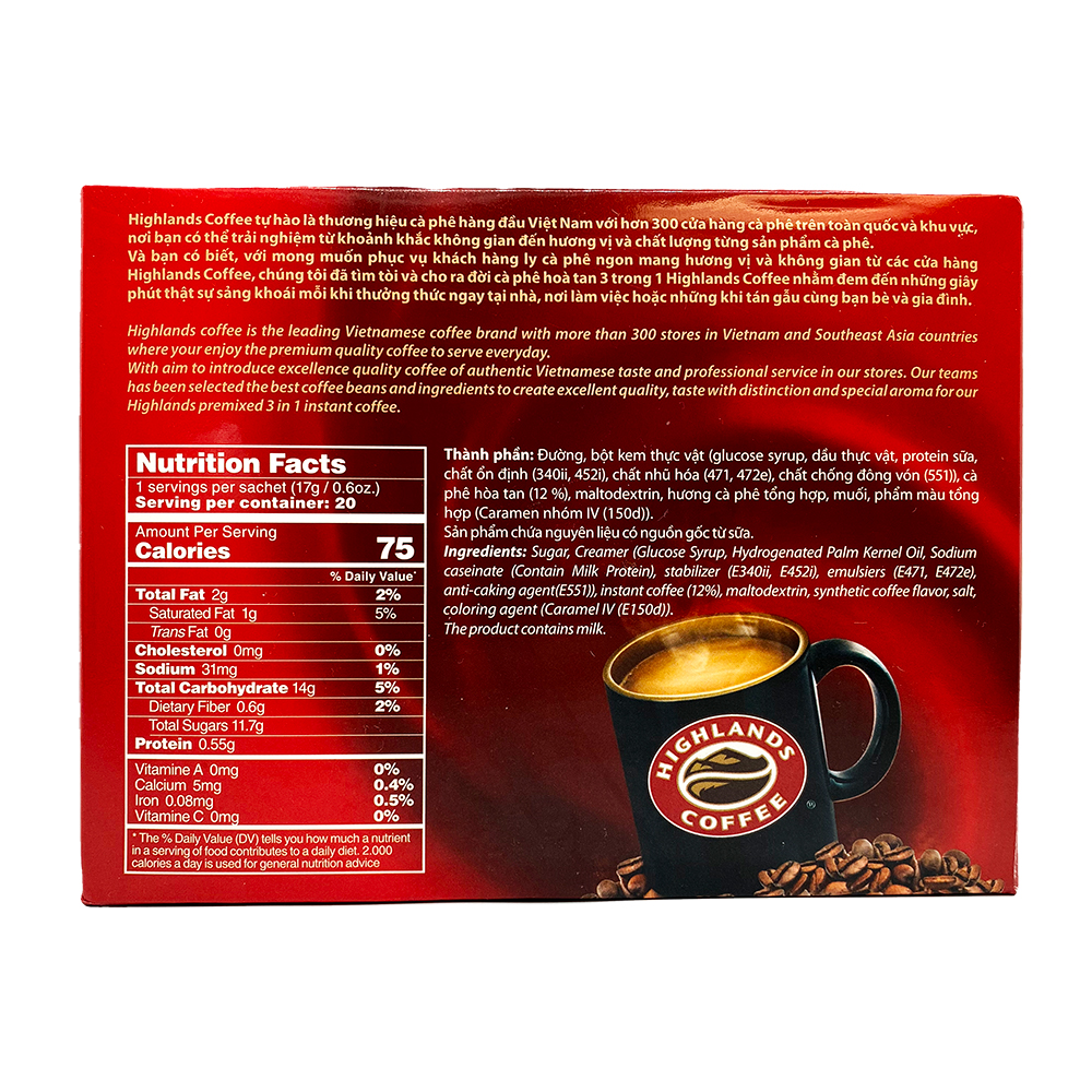 HIGHLANDS Instant Coffee 3 In 1 / Ca Phe Hoa Tan 3 Trong 1 11.99 OZ