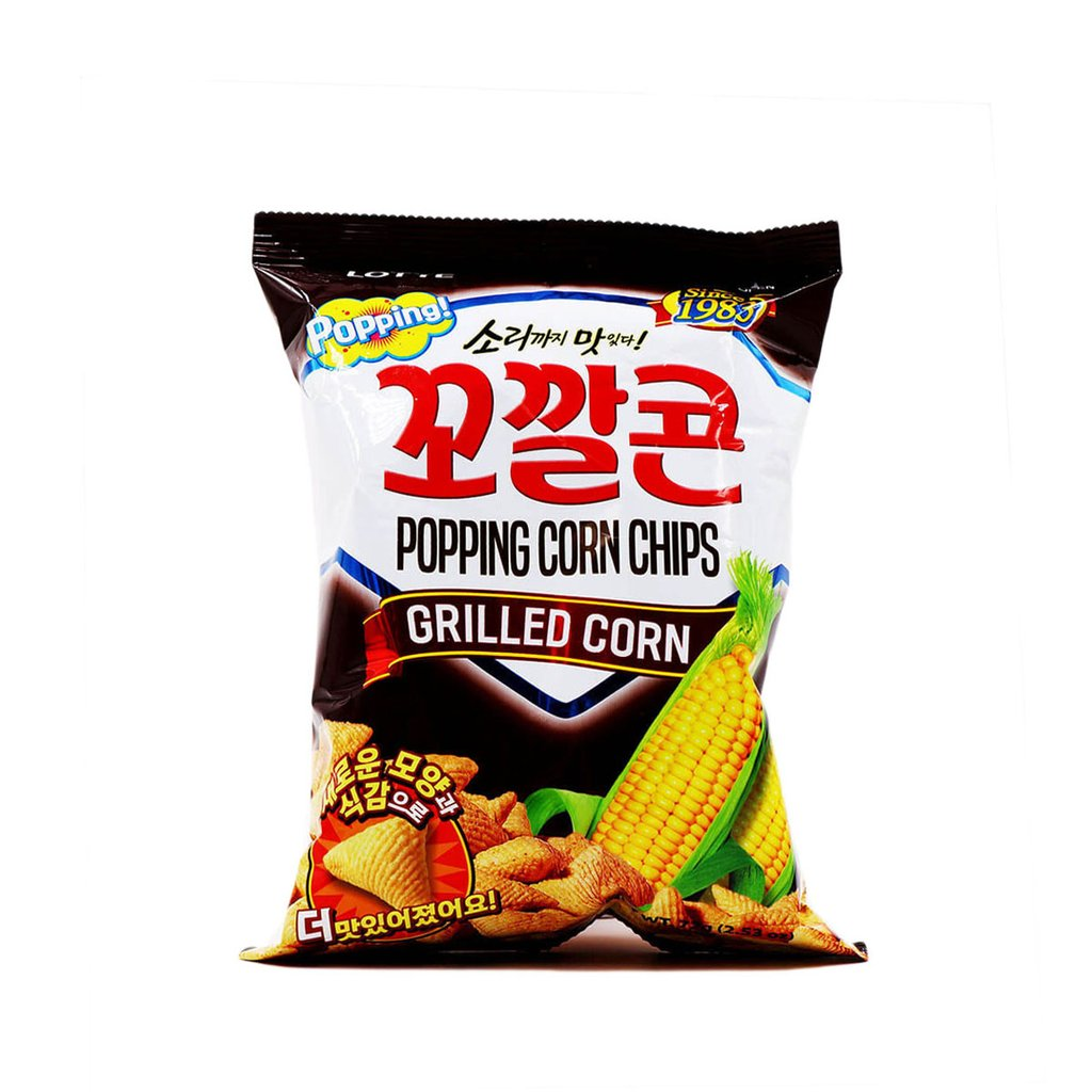 medium lotte popping corn chips grilled corn 253 oz nDpzjknkf