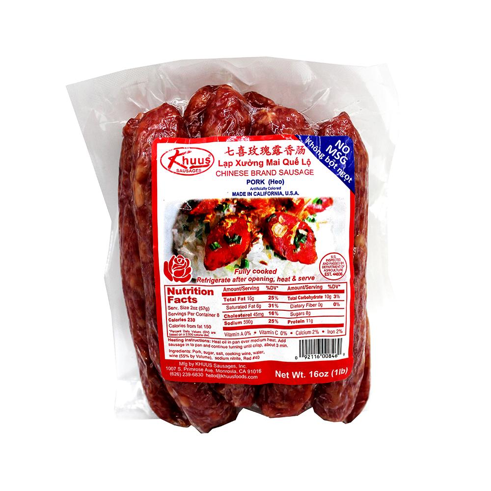 KHUUS Amazing Chinese Brand Sausage (Pork) / Lap Xuong Mai Que Lo 16 OZ